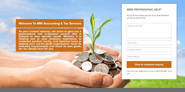 accounting web design affordable