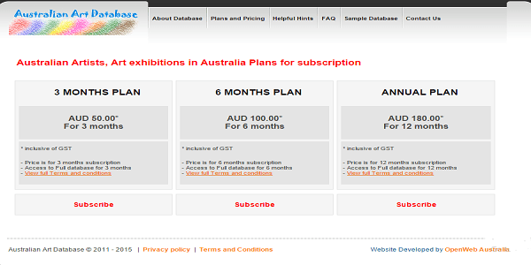 Australian Art Database - Pricing Page