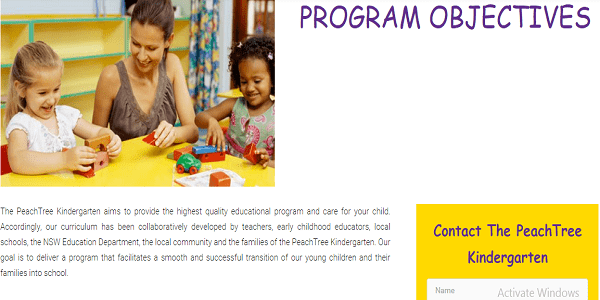 peachtree kindergarten program objectives page