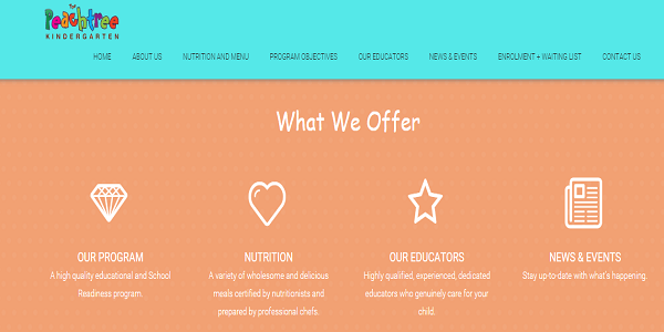 Peachtree kindergarten webpage layout