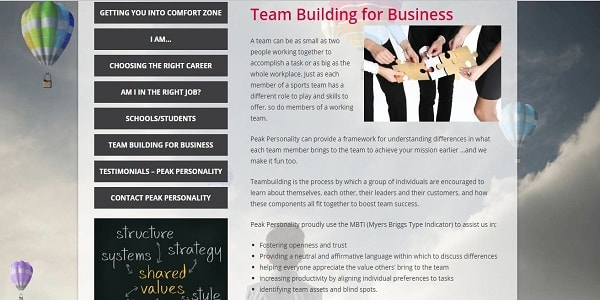 peakpersonality team building web image