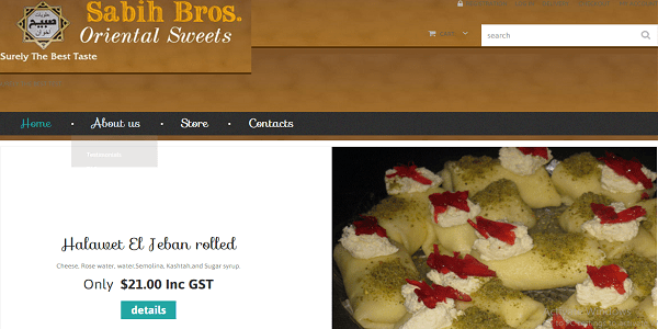 sabih Bros oriental sweets wordpress website design