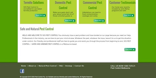SOS Pest Control - Webpage Layout